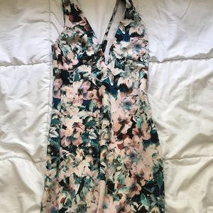 Like new colorful floral tight midi length dress